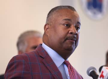 Rep. Donald Payne Jr. speaks at a press conference in Newark on Aug. 26, 2019. (David Gard | For NJ Advance Media/)