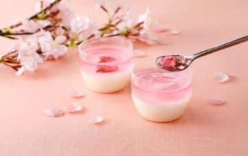 千葉県産牛乳を使用したプリンに桜葉風味のゼリーを重ねた「桜ぷりん」