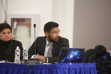 A Jersey City Board of Education meeting took place at School 26 on Monday, May 13, 2019. Board Member Mussab Ali. (Michael Dempsey/)