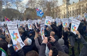 Jews and non-Jews gather in solidarity to protest against Antisemitism at Parliament Square in London on Sunday (photo credit: SARKIS ZERONIAN)