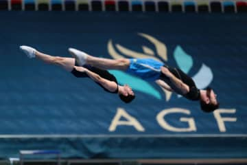 Baku's National Gymnastics Arena holds first training in trampoline, tumbling