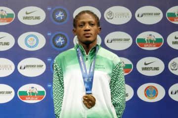 女子57kg級のランキング1位に立ったオデュナヨ・アデクオロイェ(ナイジェリア)=写真は2019年世界選手権