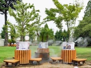 群馬大などが開発した緑化ベンチ。中央が車いすに対応した商品