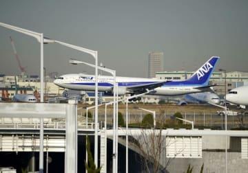羽田空港に着陸する日本政府のチャーター機第2便=1月30日