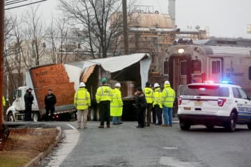 No one was hurt when a New Jersey Transit train hit a truck at the Cedar Avenue crossing in Middlesex Borough on Tuesday, Feb. 11, 2020. (Ed Murray | NJ Advance Media for NJ.com/)
