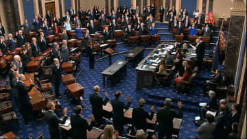 In this image from video, presiding officer U.S. Chief Justice John Roberts swears in members of the U.S. Senate for the impeachment trial against President Donald Trump on Jan. 16, 2020. (Senate Television via AP/)