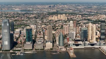 Composite panorama of Jersey City waterfront skyline as seen from One World Observatory on the 100th floor of One World Trade Center in New York City on Wednesday, Aug. 9, 2017. (Reena Rose Sibayan   The Jersey Journal) EJA (Reena Rose Sibayan/)