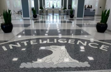 The Central Intelligence Agency seal in the lobby of CIA Headquarters in Langley, Virginia.