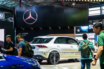 Mercedes-Benz was present at CES Asia 2019 to showcase its lineup of electric cars in Shanghai, China on June 11, 2019. (Image credit: TechNode/Eugene Tang)