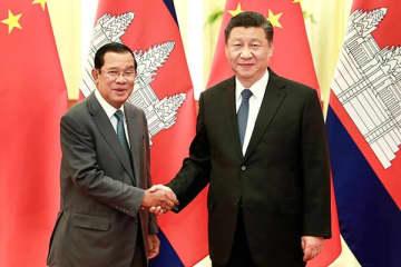 """2月5日、習氏と """"親中国"""" カンボジアのフン・セン首相が会談"""