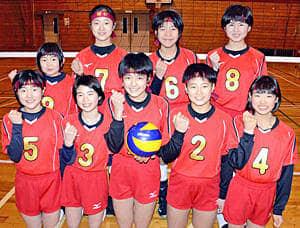 全国大会での活躍を誓う岡山スポ少バレーボール部女子のメンバー