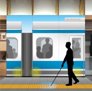 視覚障がい者歩行支援システムイメージ 白杖が危険な場所に近づくと振動と音声で知らせる