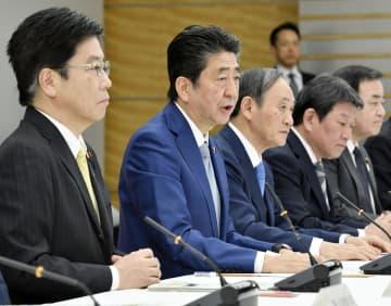 新型コロナウイルス感染症対策本部会合で発言する安倍首相=13日午後、首相官邸