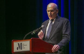 Former White House Chief of Staff John Kelly, speaks at the Mayo Performing Arts Center on Feb. 12, 2020, in Morristown, during the Drew University Forum lecture series. (Karen Mancinelli/)