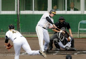 シート打撃で秋山(左)から本塁打を放つボーア