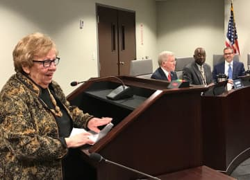 State Senator Majority Leader Loretta Weinberg welcomes four new  NJ Transit board members, Robert Gordon, left, James D. Adams, center and Richard Maroko. New member  Cedrick Fulton was seated elsewhere on the dais. (Larry Higgs/)