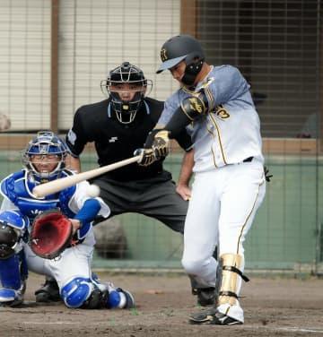 中日戦の4回、左前打を放つ阪神・大山悠輔=8日、北谷公園野球場