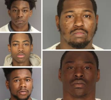 Clockwise from top left: Ibn Saadiq, David Lamar, Quaheem Bethea, Angelo West and Robert Dorrah. (Essex County jail/)