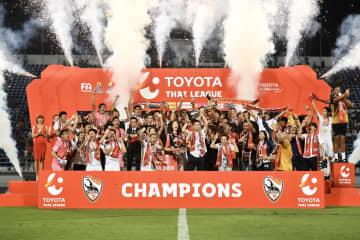 Chiang Rai United celebrate winning their first ever Thai League 1 title last year.