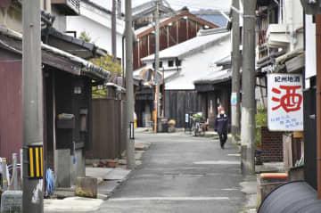閑散とする国の重要伝統的建造物群保存地区=15日午後、和歌山県湯浅町