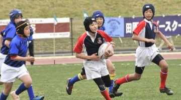 芝生の上を躍動する小学生たち=横浜市港北区の新横浜公園