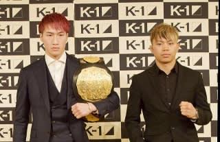 不可思(右)が王者・安保瑠輝也(左)に勝利し6団体目のベルト獲得となるか。(C)M-1 Sports Media