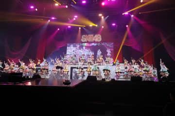 SKE48のコンサートには全メンバー75人が出演した。松井珠理奈さんは卒業発表から1週間ぶりにファンの前に登場した (c)2020 Zest,Inc.