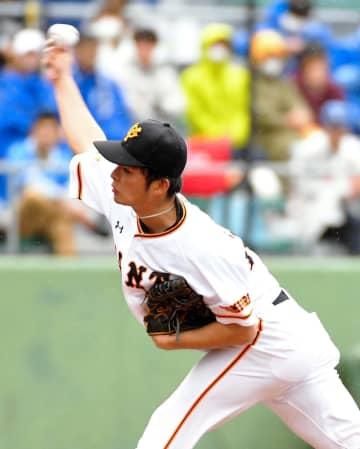 6回から3番手で登板し、DeNA打線を1イニング無失点に抑えた巨人・沼田翔平
