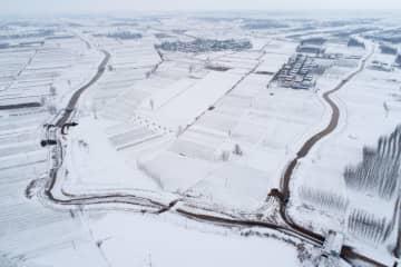 黄河のほとりが雪化粧 山東省淄博市