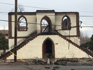 The Shiloh Baptist Church in Elizabeth after it was destroyed by a fire early Sunday. (Ed Murray | NJ Advance Media for NJ.com)