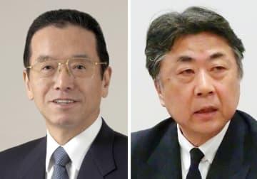 積水ハウスの和田勇前会長(左)と阿部俊則会長