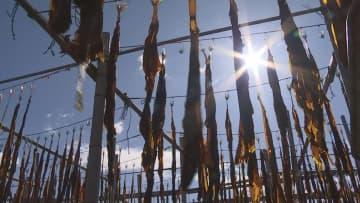 淡路市の漁港 生ワカメの天日干し