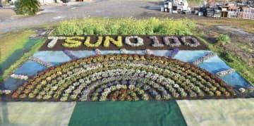 都農町制100周年をPRするため、町衛生公社が制作した「花のアート」