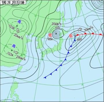 2月17日午後3時時点の天気図(気象庁HPから)