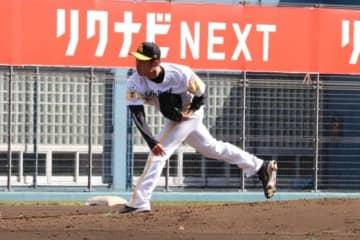 白組の3番手として登板したソフトバンク・岩嵜翔【写真:福谷佑介】