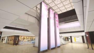 東京駅地下に新設される吹き抜け空間のある待ち合いスペースのイメージ(JR東日本提供)