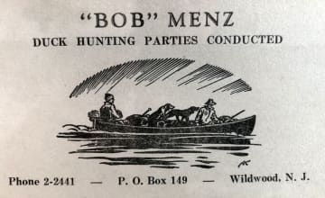 Robert Menz's duck hunting business card. (photo courtesy of Tai Menz)