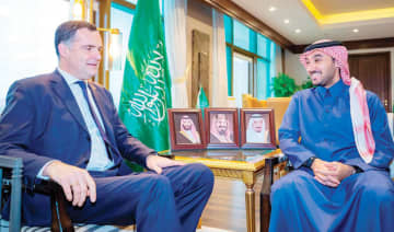 Prince Abdul Aziz bin Turki Al-Faisal, chairman of the General Sports Authority, received French Foreign Ministry official Christophe Farno in Riyadh. (SPA)