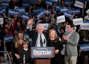 DES MOINES, IOWA - FEBRUARY 03: Democratic presidential candidate Sen. Bernie Sanders (I-VT) with his wife Jane Sanders and family addresses supporters during his caucus night watch party on February 03, 2020 in Des Moines, Iowa. Iowa is the...
