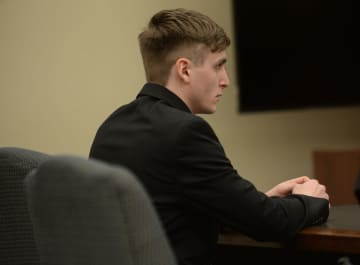 Mason Bryszewski appears before Judge M. Christine Allen-Jackson in Gloucester County Superior Court, Wednesday, Feb. 19, 2020.  Bryszewski faces trial on two counts of death by auto in a 2018 crash. (Joe Warner   For NJ Advance Media/)