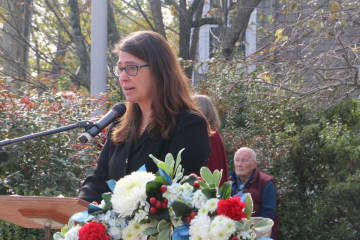 Princeton Mayor Liz Lempert thanked all veterans for their service and carrying the heavy task of keeping all Americans safe. (India Duke/)