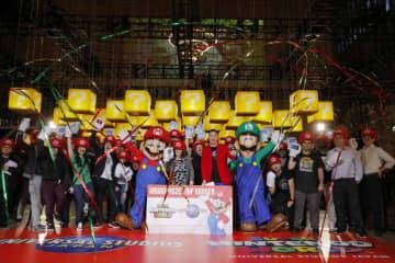 任天堂の人気キャラクター「マリオ」などが登場する新エリアの開業に向け、ユニバーサル・スタジオ・ジャパンが開いたイベント=19日、ニューヨーク(AP=共同)