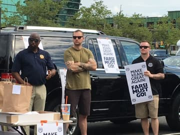 Members of the New Jersey State Policemen Benevolent Association held a demonstration at Kean University on July 3, 2019 in a show of solidarity for five campus police officers suspended earlier this year. (Jenna Wise/)