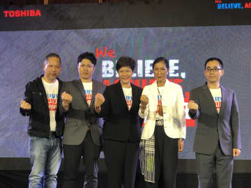 Mr Liu, far right, announcing the business strategy for this year. He is accompanied by Mrs Kobkarn, second from right, and Kanit Muangkrachang, vice-president of Thai Toshiba Electric Industries, centre, and Mr Takase, second left.