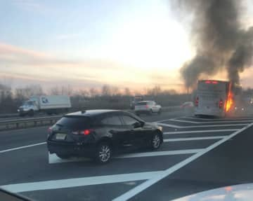 Traffic is backed up on Interstate 78 in Union County after a bus caught fire near the Vaux Hall Road exit. (Photo courtesy Jimmy Paulo) (Jimmy Paulo/)
