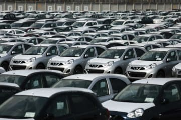 Cars await export at the Laem Chabang port in Chon Buri province. (File photo)