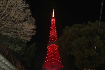 東京タワー、赤色にライトアップ 新型肺炎と闘う中国応援