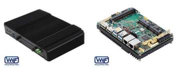 ボックスPC「BXPC-RSKLM」シリーズ(左)と3.5インチ シングルボードコンピューター「MBC-SKLM」シリーズ