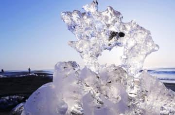 十勝川河口付近の海岸に打ち上げられ、朝日を浴びて輝く氷の塊「ジュエリーアイス」=21日朝、北海道豊頃町