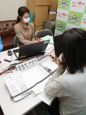 新型コロナウイルスの感染拡大を受け、県が開設した電話相談窓口。予防意識の高まりから相談件数が急増している=21日午後、県庁